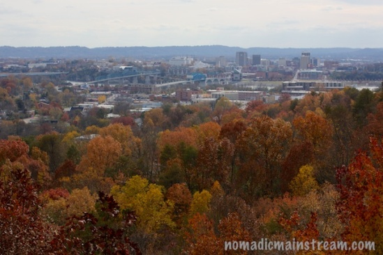 View of Downtown Chattanooga from Stringer's Ridge in the fall