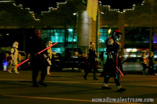 No acrobatic lightsaber fights erupted during the parade.