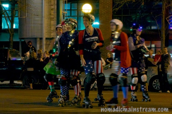 The Chatt Roller Girls pose briefly