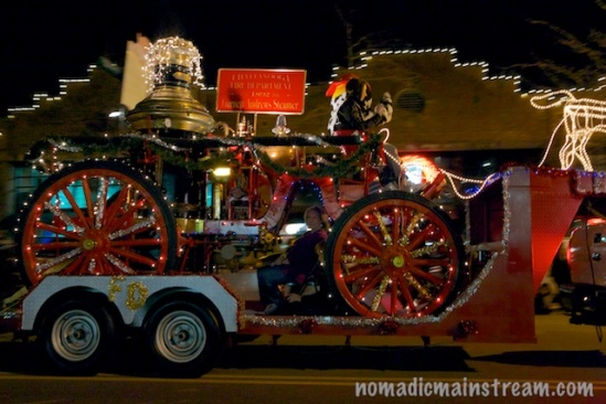 This ancient fire truck hitched a ride so it too could make an appearance in the parade.
