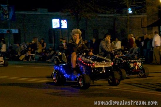 The lawn mower racing team made a striking night time appearance.
