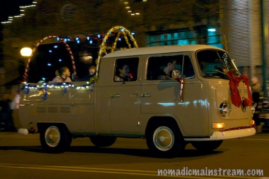 This VW bus makes for a more creative way to enter a float.