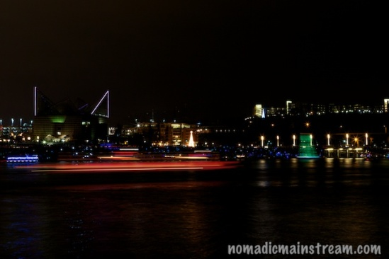 The lead boat caught me off guard, but I got this light trail from my camera on the tripod