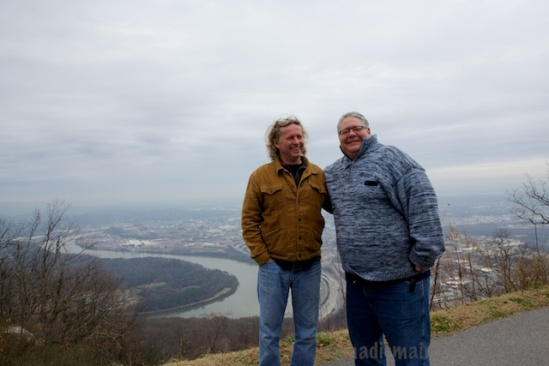 Pat and George pose for me in front of the overlook above Moccasin Bend