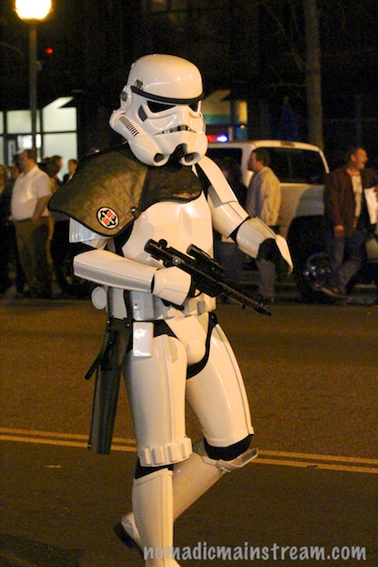 Of course the best shot of a storm trooper I got was of the only one with no Christmas lights.