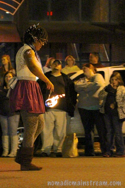 I was really worried she was going to catch her skirt on fire.
