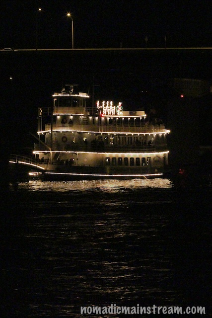 The Southern Belle provides the center of the boat parade circle.
