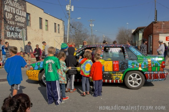 Whether the kids appreciated the happy-thoughts car or not, they certainly enjoyed the candy