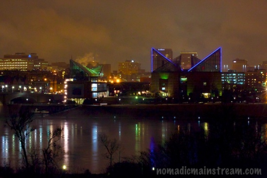 In spite of the dreary weather, the riverfront always looks cheerful