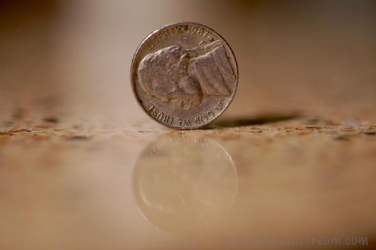 I was able to capture one nickel on edge, perfectly still