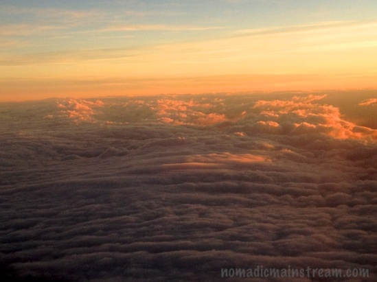 Close-up of clouds catching sunrise