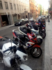 It's not a biker hang out--this is just typical in Europe where gas is so expensive