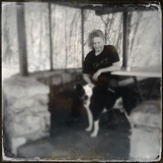 """The Hipstamatic """"lens"""" created a very shallow depth of field--only Pat remains in focus"""