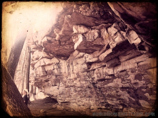 Side wall of Indian Rock House shot with the color verison of tintype in Hipstamatic