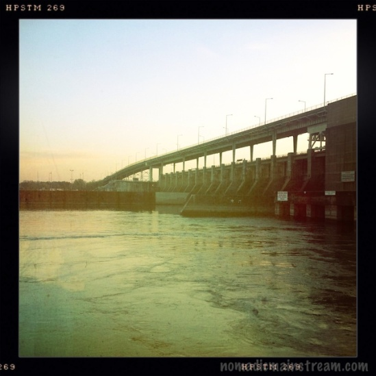 Hipstatmatic version of the Chickamauga Dam shortly after sunrise