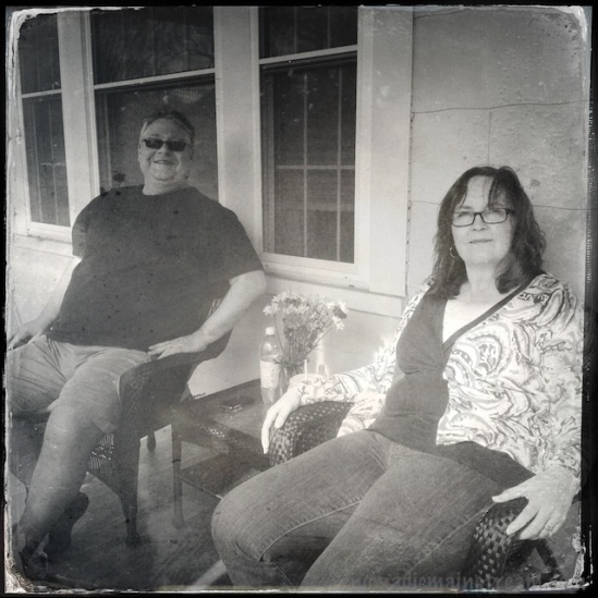 Gill and Gina looking strangely contemporary in this tintype-effect Hipstamatic shot