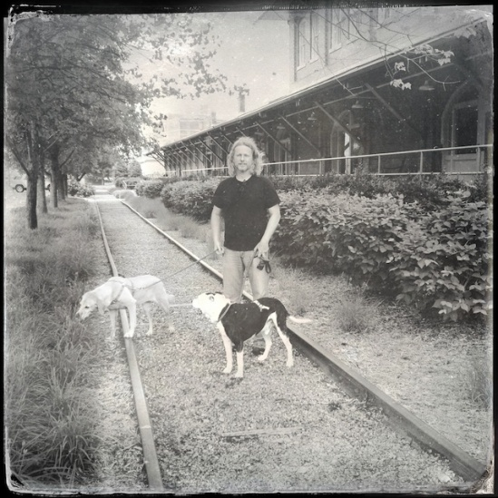My boys and Twiggy hanging out on the tracks Hipstomatic style