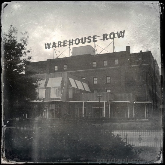 The Warehouse Row sign makes a great subject for the tintype effect of Hipstamatic