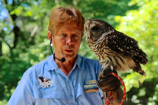 John with Artie, the Barred Owl