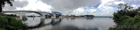 A panoramic view of the bridges and aquarium of the Chattanooga waterfront