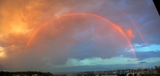 I manage to capture the rainbows with the panoramic feature on the iPhone, but the 2nd rainbow is faint