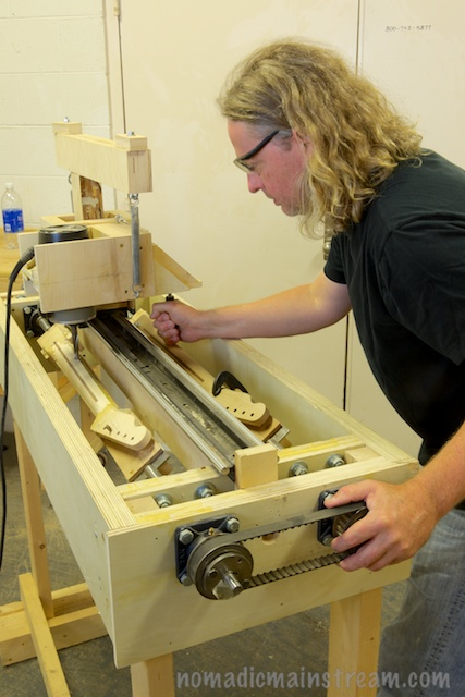 A second machine he built allows him to make necks the exact shape he wants