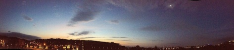 iPhone panoramic of moon at sunset