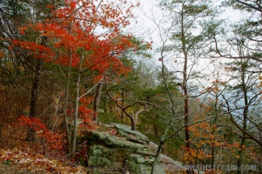 More red above an outcropping of rocks