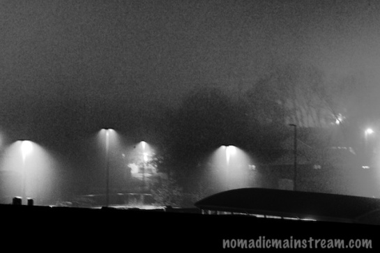 Parking lot lights in heavy fog