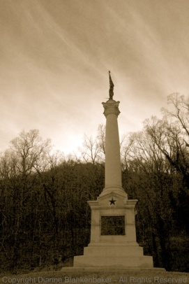 An antique look added to B&W for the monument at Craven's House on Lookout Mountain