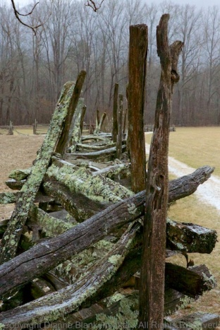 Fence along the recreated historical village on the Oconoluftee River trail