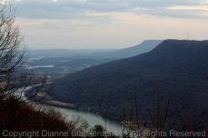 Looking up the Tennessee River Gorge towards Chattanooga