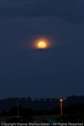 Super moon rising for a second time from behind the clouds